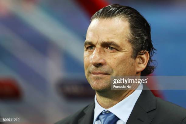 Juan Antonio Pizzi of Chile looks on during the FIFA Confederations Cup Russia 2017 Group B match between Germany and Chile at Kazan Arena on June 22...