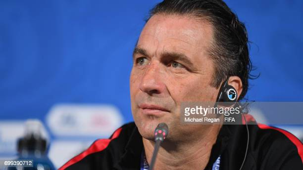 Juan Antonio Pizzi speaks to the media during the Chile Training session and press conference on June 21 2017 in Kazan Russia