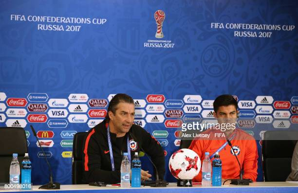 Juan Antonio Pizzi the coach of Chile and Francisco Silva face the media during a press conference at the Spartak Stadium during the FIFA...