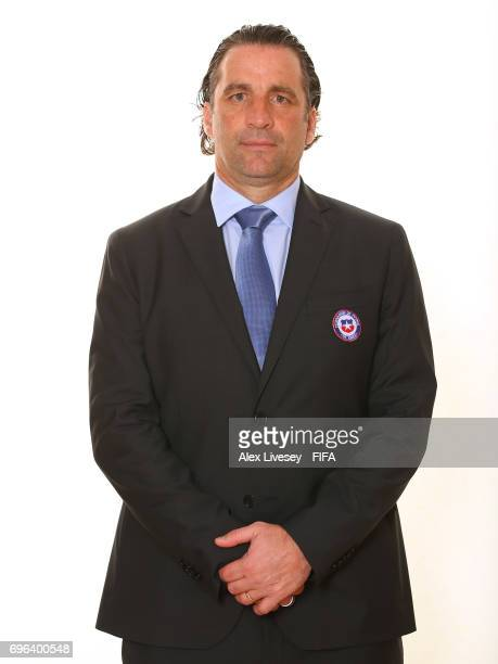 Juan Antonio Pizzi the coach of Chile during a portrait session ahead of the FIFA Confederations Cup Russia 2017 at the Crowne Plaza Hotel on June 15...