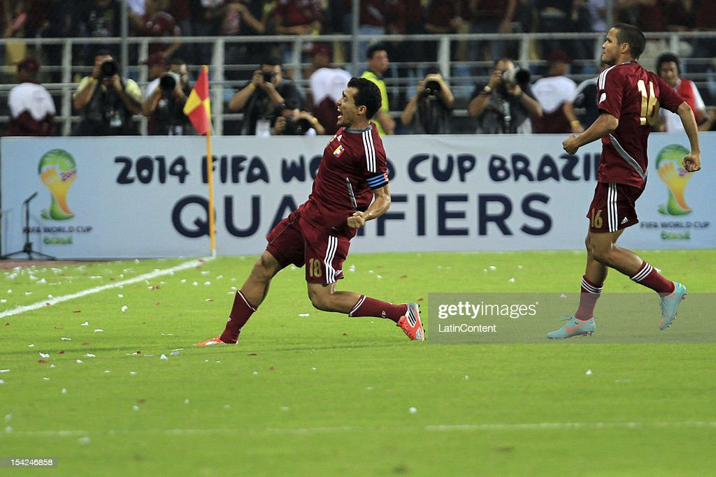 Juan Arango (14) celebrates a goal during a match between Venezuela and Ecuador during 2014 world cup qualifying soccer game at Jose Antonio Anzoategui stadium on October 16, 2012 in Puerto La Cruz, Venezuela