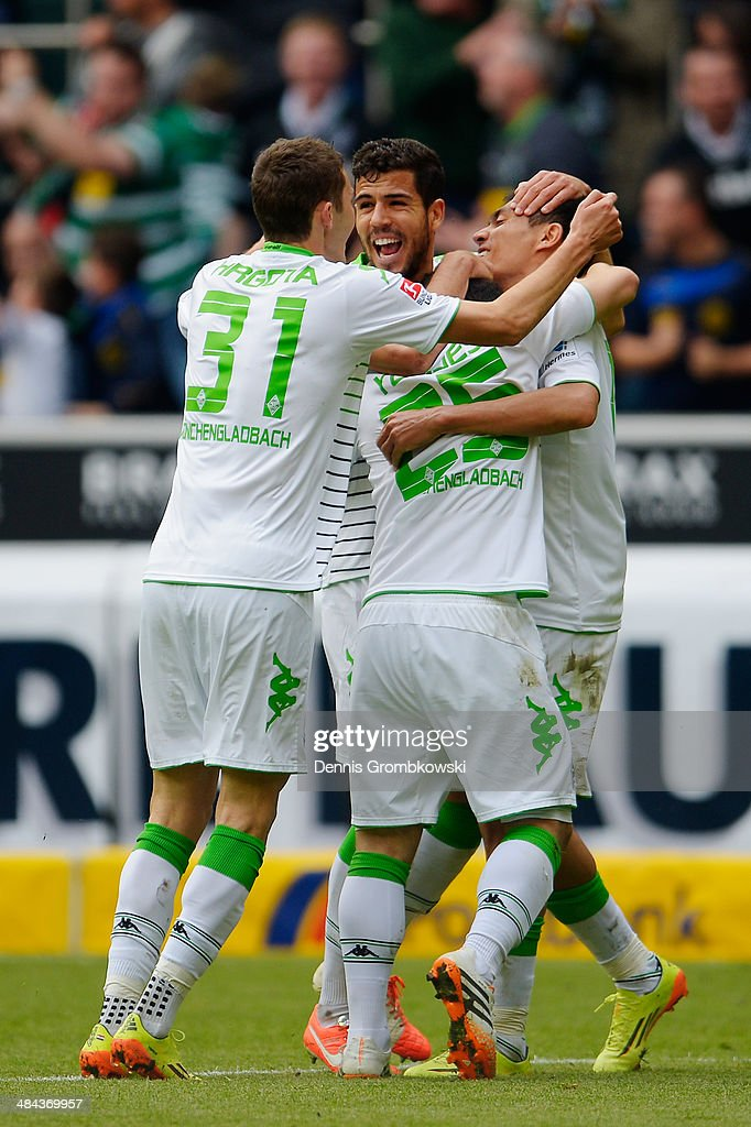 Juan Arango of Borussia Moenchengladbach celebrates after scoring his team's first goal during the Bundesliga match between Borussia Moenchengladbach and VfB Stuttgart at Borussia-Park on April 12, 2014 in Moenchengladbach, Germany.