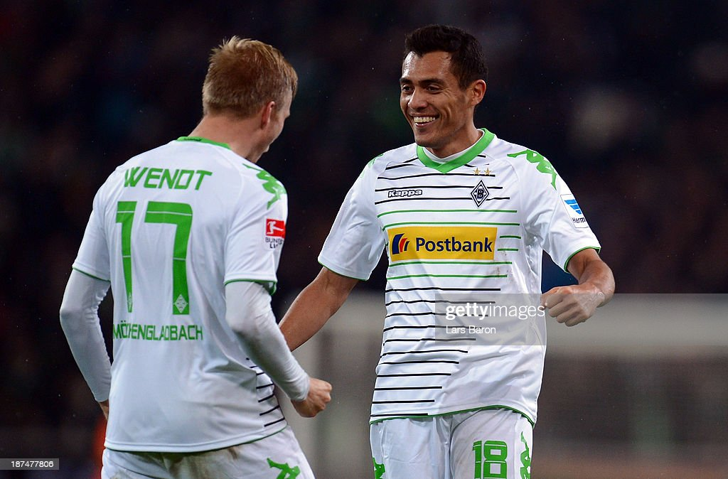 Juan Arango of Moenchengladbach celebrates after after scoring his teams first goal during the Bundesliga match between Borussia Moenchengladbach and 1. FC Nuernberg at Borussia-Park on November 9, 2013 in Moenchengladbach, Germany.
