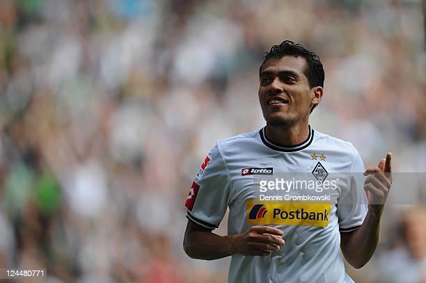 Juan Arango of Moenchengladbach celebrates after scoring his team's opening goal during the Bundesliga match between Borussia Moenchengladbach and 1...
