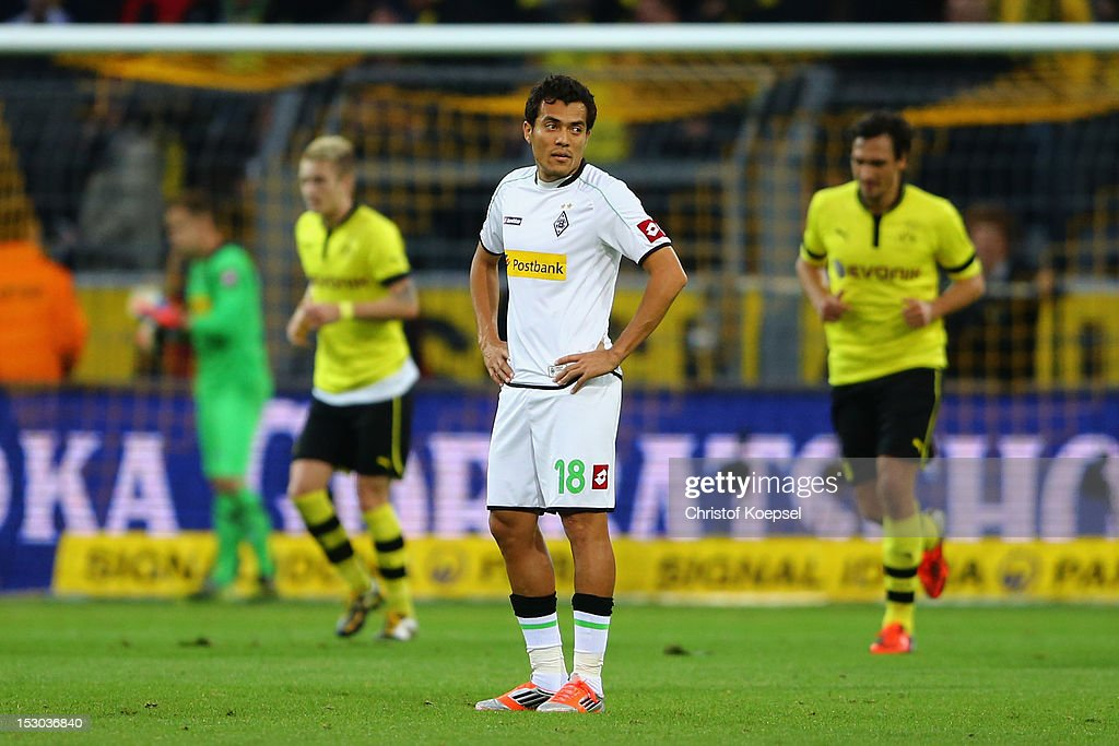 Juan Arango of Moenchengladbach looks dejected after the first goal of Dortmund during the Bundesliga match between Borussia Dortmund and VfL Borussia Moenchengladbach at Signal Iduna Park on September 29, 2012 in Dortmund, Germany.