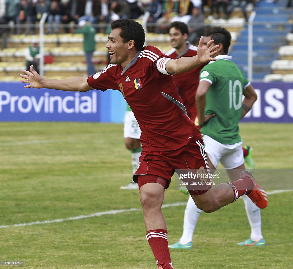 Juan Arango of Venezuela celebrates a goal against Bolivia during a match between Bolivia and Venezuela as part of the 13th round of the South American Qualifiers for the FIFA's World Cup Brazil 2014 at Hernando Siles Stadium on June 07, 2013 in La Paz, Bolivia.