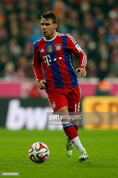 Juan Bernart of Muenchen runs with the ball during the Bundesliga match between FC Bayern Muenchen and SC Freiburg at Allianz Arena on December 16...