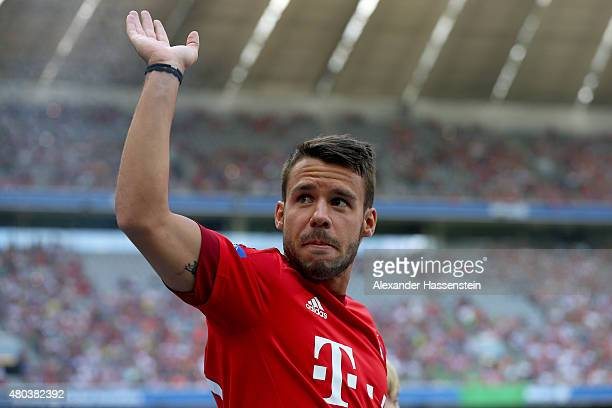 Juan Bernat arrives for the FC Bayern Muenchen season opening and team presentation at Allianz Arena on July 11 2015 in Munich Germany
