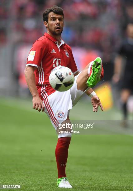 Juan Bernat of Bayern Muenchen in action during the Bundesliga match between Bayern Muenchen and 1 FSV Mainz 05 at Allianz Arena on April 22 2017 in...