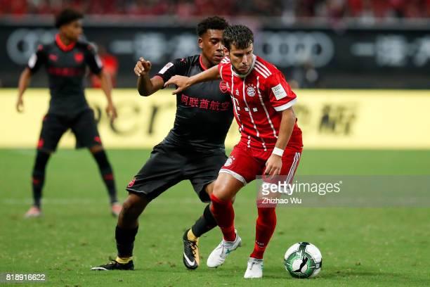Juan Bernat of FC Bayern controls the ball during the 2017 International Champions Cup China match between FC Bayern and Arsenal FC at Shanghai...