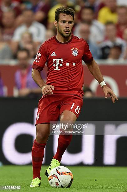 Juan Bernat of FC Bayern Muenchen controls the ball during the Audi Cup 2015 match between FC Bayern Muenchen and AC Milan at Allianz Arena on August...