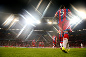 Juan Bernat of FC Bayern Muenchen enters the field with his team mates for the UEFA Champions League Group E match between Bayern Munchen and...