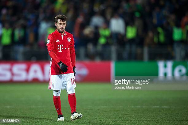 Juan Bernat of FC Bayern Muenchen reacts after the UEFA Champions League match between FC Rostov and Bayern Muenchen at Olimp2 on November 23 2016 in...