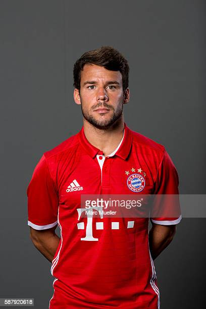 Juan Bernat of FC Bayern Munich pose during the team presentation on August 10 2016 in Munich Germany