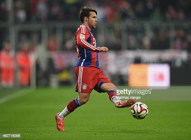 Juan Bernat of Muenchen controls the ball during the Bundesliga match between FC Bayern Muenchen and FC Schalke 04 at Allianz Arena on February 3...