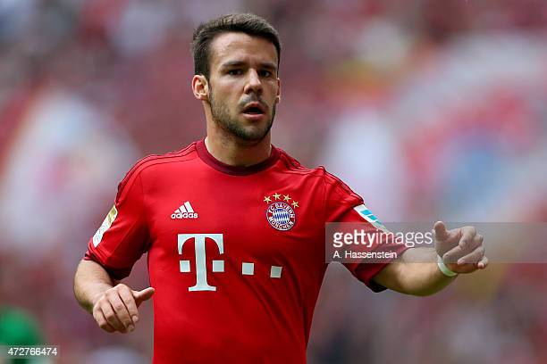 Juan Bernat of Muenchen looks on during the Bundesliga match between FC Bayern Muenchen and FC Augsburg at Allianz Arena on May 9 2015 in Munich...