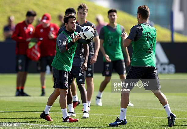 Juan Bernat throws a ball during a training session at day 4 of the Bayern Muenchen training camp at Aspire Academy on January 6 2017 in Doha Qatar