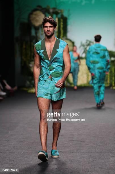 Juan Betancourt walks the runway at the Francis Montesinos show during the MercedesBenz Fashion Week Madrid Spring/Summer 2018 at Ifema on September...