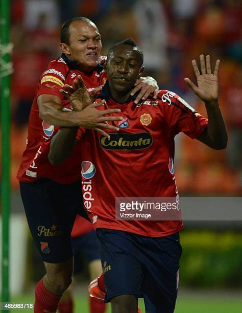 Juan Caicedo player of Independiente Medellin celebrates his goal scored to Atletico Huila during a match between Independiente Medellin and Atletico...