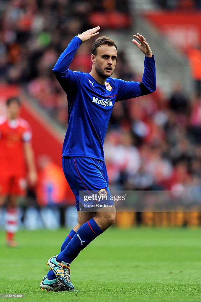 Juan Cala of Cardiff celebrtaes after scoring the opening goal during the Barclays Premier League match between Southampton and Cardiff City at St Mary's Stadium on April 12, 2014 in Southampton, England.