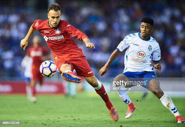 Juan Cala of Getafe CF being followed by Anthony Lozano of CD Tenerife during La Liga 2 play off round between CD Tenerife and Getafe CF at Heliodoro...