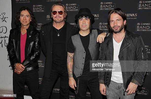 Juan Calleros Fher Olvera Alex Gonzalez and Sergio Vallin of the rock band Mana attend event to announce partnership with Chivas Regal at SLS South...