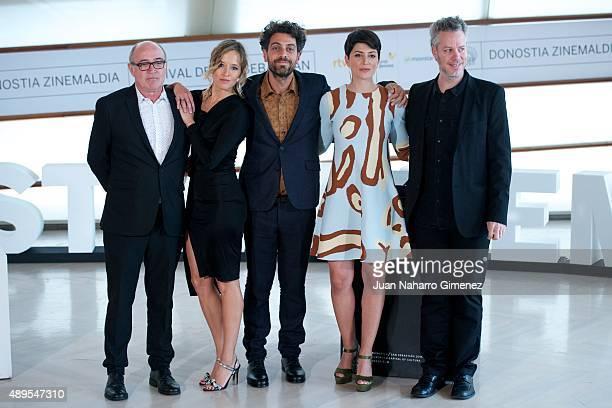 Juan Calot Marta Larralde Alvaro Ogalla Barbara Lennie and Federico Veiroj attend 'El Apostata' photocall during 63rd San Sebastian Film Festival on...