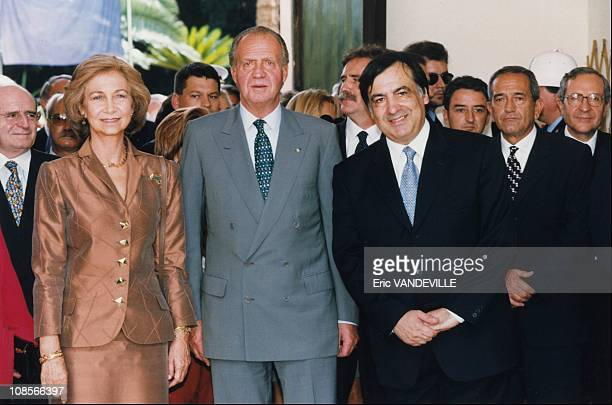 Juan Carlos and Sofia of Spain with Leoluca Orlando in Italy on October 01st 1998