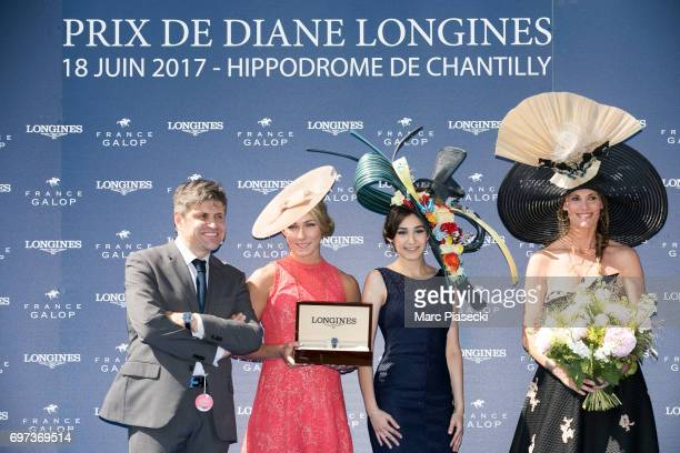 Juan Carlos Capelli Mikaela Shiffrin MarieSarah Ennreici and Sophie Thalmann attend the 'Prix de Diane Longines 2017' on June 18 2017 in Chantilly...