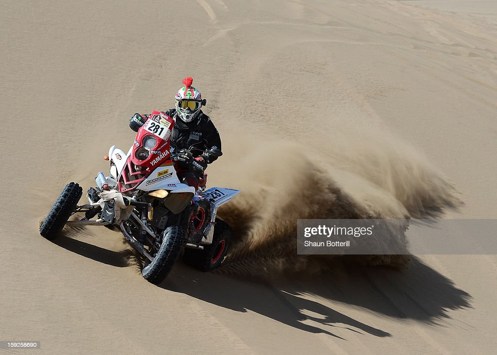 Juan Carlos Carignani of team Black Forest Quad competes in stage 6 from Arica to Calama during the 2013 Dakar Rally on January 10, 2013 in Arica, Chile.