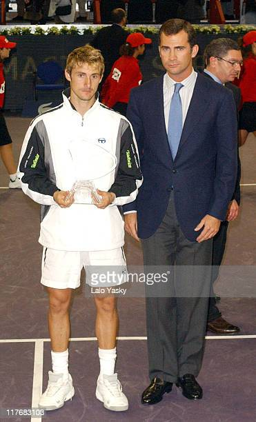 Juan Carlos Ferrero and Felipe of Spain World Number One Tennis Player Juan Carlos Ferrero of Spain Defeated Chilean Nicolas Massu
