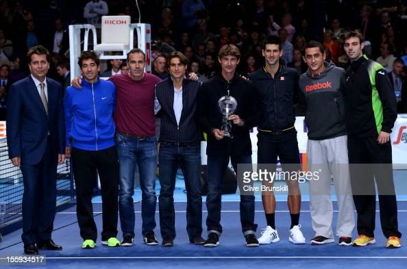 Juan Carlos Ferrero of Spain poses next to ATP Executive Chairman and President Brad Drewett Marc Lopez of Spain Alex Corretja David Ferrer of Spain...