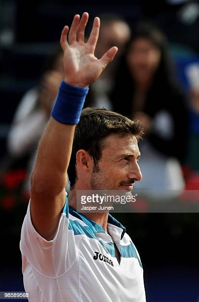 Juan Carlos Ferrero of Spain waves to fans at the end of his match against Sergiy Stakhovsky of the Ukrain on day three of the ATP 500 World Tour...