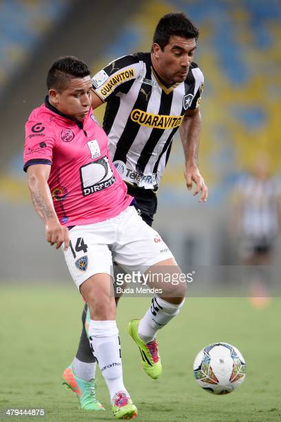 Juan Carlos Ferreyra of Botafogo battles for the ball against Mario Alberto Pineida of Independiente del Valle during a match between Botafogo and...