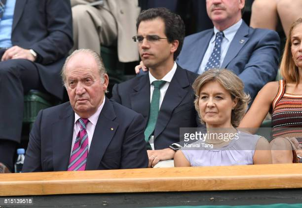 Juan Carlos I and Sofia of Spain attend the Women's Singles Final at Wimbledon Tennis Championships at the All England Lawn Tennis and Croquet Club...
