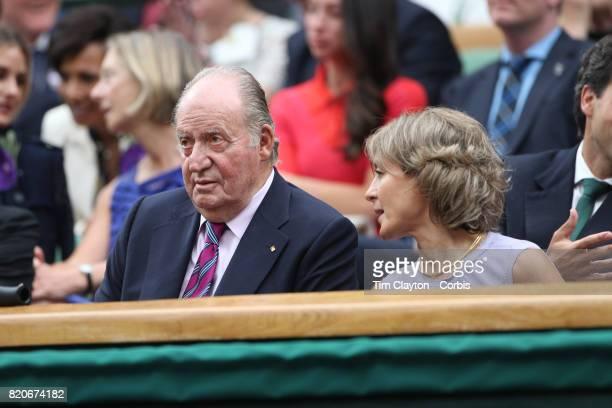 Juan Carlos I former King of Spain and Sofa of Spain at the Ladies Singles Final match between Garbine Muguruza of Spain against Venus Williams of...