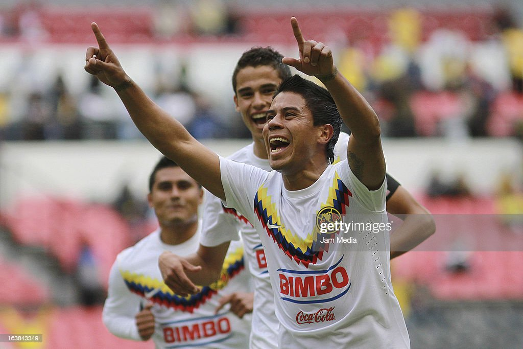 Juan Carlos Medina of America celebrates score a goal against San Luis during a match Clausura 2013 Liga MX at Azteca Stadium on march 16 2012 in...