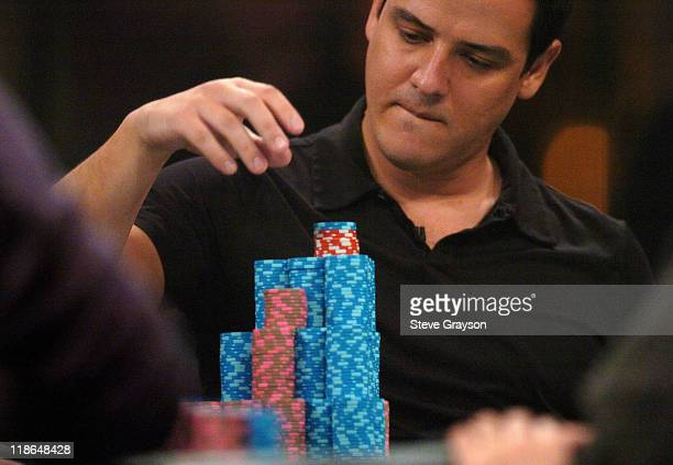 Juan Carlos Mortensen competes in the final table of the World Poker Tour's Doyle Brunson North American Poker Championship at the Bellagio Hotel in...