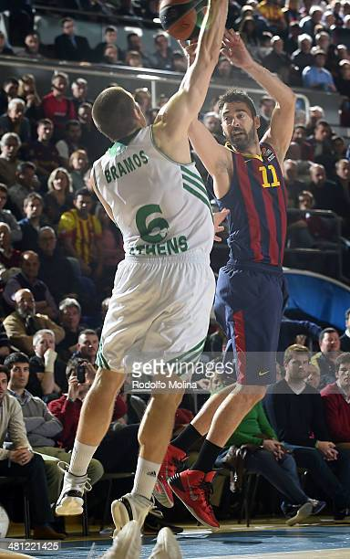 Juan Carlos Navarro #11 of FC Barcelona in action during the 20132014 Turkish Airlines Euroleague Top 16 Date 12 game between FC Barcelona Regal v...