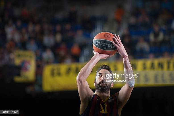 Juan Carlos Navarro #11 of FC Barcelona in action during the 20132014 Turkish Airlines Euroleague Top 16 Date 14 game between FC Barcelona Regal v...