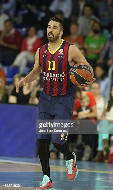 Juan Carlos Navarro #11 of FC Barcelona in action during the 20142015 Turkish Airlines Euroleague Basketball Play Off Game 1 between FC Barcelona v...