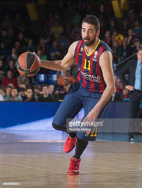 Juan Carlos Navarro #11 of FC Barcelona in action during the Turkish Airlines Euroleague Basketball Top 16 Date 10 game between FC Barcelona v...