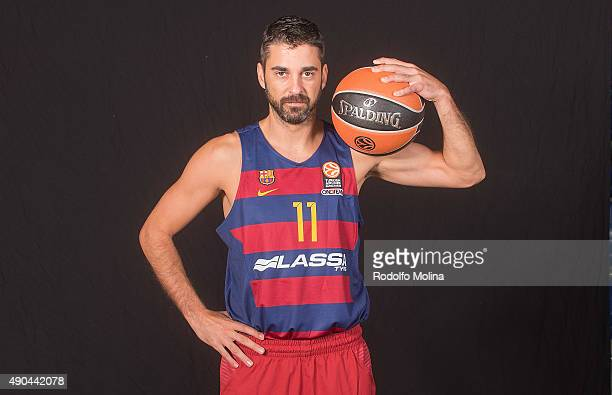 Juan Carlos Navarro #11 of FC Barcelona Lassa during the 2015/2016 Turkish Airlines Euroleague Basketball Media Day at Palau Blaugrana on September...