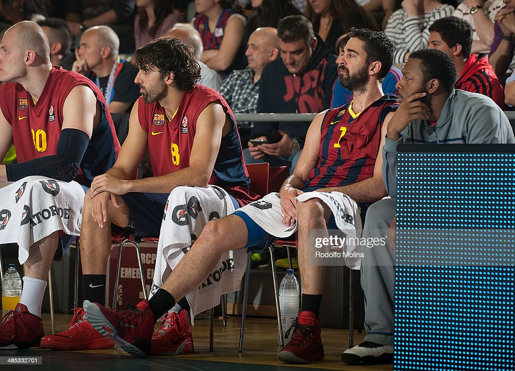 Juan Carlos Navarro, #11 of FC Barcelona on the bench during the Turkish Airlines Euroleague Basketball Play Off Game 2 between FC Barcelona Regal v Galatasaray Liv Hospital Istanbul at Palau Blaugrana on April 17, 2014 in Barcelona, Spain.