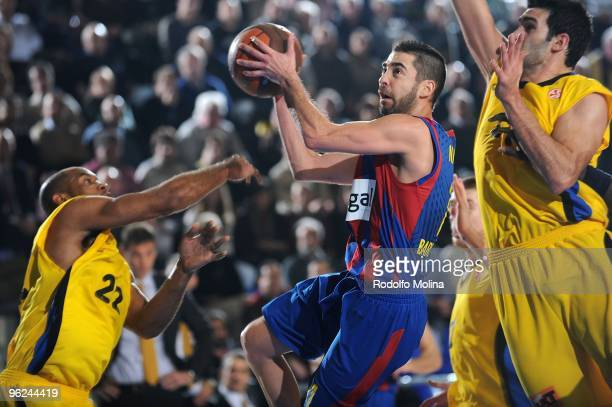 Juan Carlos Navarro #11 of Regal FC Barcelona in action during the Euroleague Basketball 20092010 Last 16 Game 1 between Regal FC Barcelona vs...