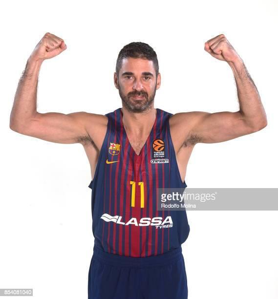 Juan Carlos Navarro #11 poses during FC Barcelona Lassa 2017/2018 Turkish Airlines EuroLeague Media Day at Palau Blaugrana on September 25 2017 in...