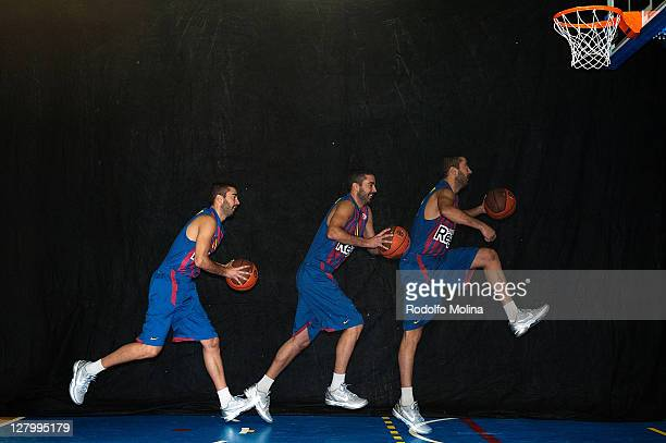 Juan Carlos Navarro #11 poses during the FC Barcelona Regal 2011/2012 Turkish Airlines Euroleague Basketball Media day at palau Blaugrana on October...