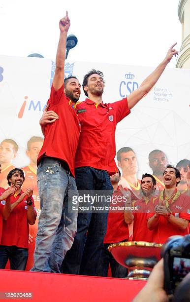 Juan Carlos Navarro and Pau Gasol celebrate Spain's gold medal victory in the Eurobasket 2011 Tournament in Callao Square on September 19 2011 in...