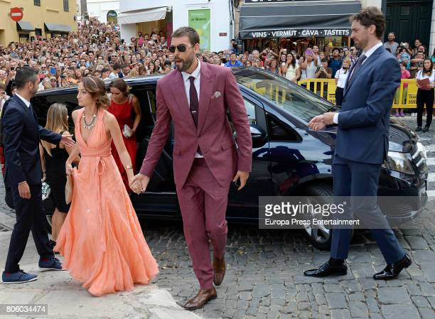 Juan Carlos Navarro Cristina Blesa Marc Gasol and Pau Gasol attend the wedding of baskettball player Sergio Llull and Almudena Canovas on July 1 2017...