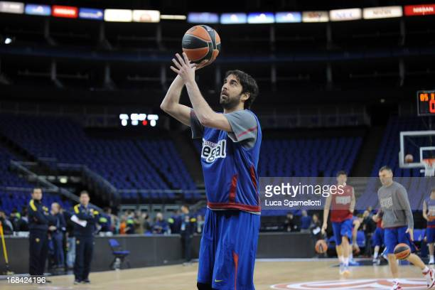 Juan Carlos Navarro during the FC Barcelona Practice as part of Turkish Airlines Euroleague Final Four at O2 Arena on May 9 2013 in London United...